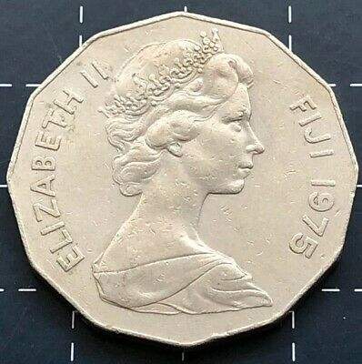 1975 Fiji Fifty 50 Cent Coin - Queen Elizabeth Ii Qeii
