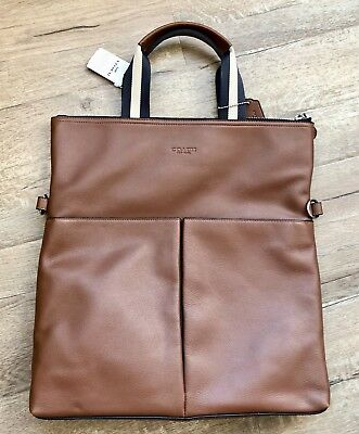 NWT COACH F54759 MEN/'S BLACK CHARLES FOLDOVER TOTE IN SMOOTH LEATHER $475