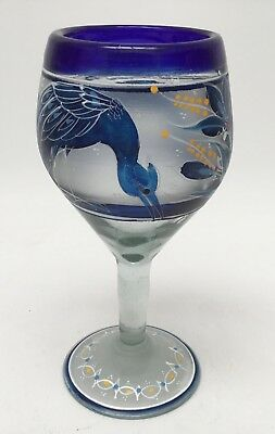 El Palomar Hand Painted Bird Wine Glass Thick Hand Blown Mexico Floral