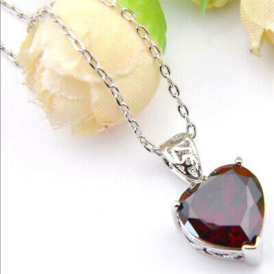 Love Heart Shaped Fire Red Garnet Gemstone Platinum Plated Necklace Pendants