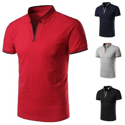 Men's Fashion Solid Cotton Standing Collar Youth Short-sleeved Polo Shirt Blouse