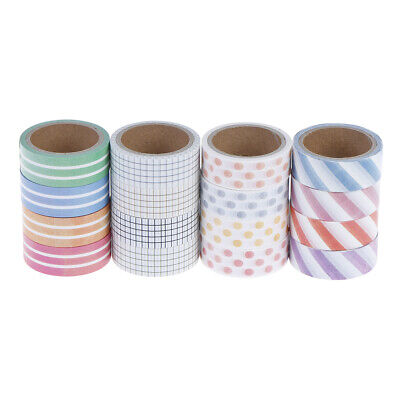 4 Rolls Masking Tape Set Grid Stripe Dot DIY Scrapbooking Sticker  ^S