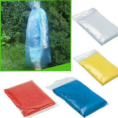 10 X Festival Waterproof Poncho Disposable Emergency Hooded Raincoat Camping New