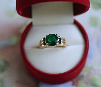 Antique Art Deco Jewellery Gold Ring With Emerald Vintage Jewelry size 9 or R1/2
