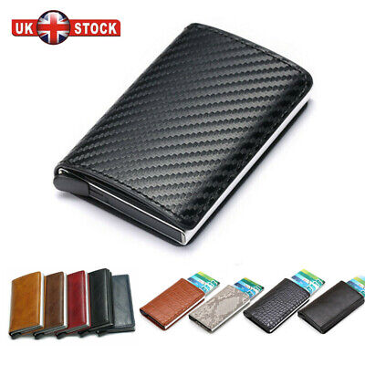 Auto Credit Card Holder Leather RFID Blocking Small Metal Wallet Money Clip MEN