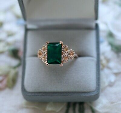 Antique Deco Jewellery Gold Ring Emerald White Sapphires Vintage Jewelry Size P