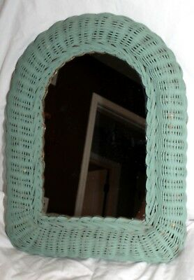 Vintage Small 12 X 16 Turquoise Wicker Arched Wall Mount Art Deco Mirror!
