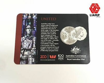 2018 ANZAC SPIRIT UNITED 50c COIN in Card Royal Australian Mint UNCIRCULATED