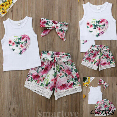 Baby Mädchen Sommer Kleidung Weste Tops Floral Shorts Hosen Outfits Sunsuit