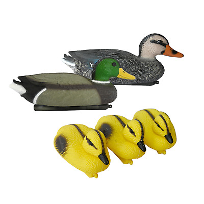 Decoy Floating Ducks Set With Ducklings Mallard Plastic Ornamental Koi Fish Pond