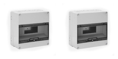 2 x Gewiss GW40005 IP55 6 or 12 Module Surface Enclosure. Ideal for RCD etc