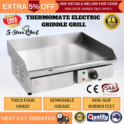 Electric Griddle Grill Stainless Steel Cook Top Non-Slip Pan Flat Indoor Outdoor