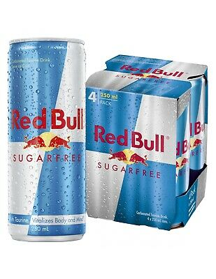 Red Bull Cans Sugar Free 4 Pack 250ml