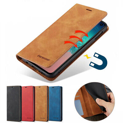 For Samsung Galaxy S10e S10 Plus Magnetic Wallet Case Stand Leather Flip Cover