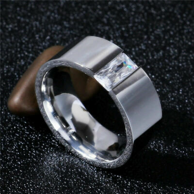 8mm 316L Steel Stainless Silver Band 6-12 Single CZ Size Smooth Women Men Ring