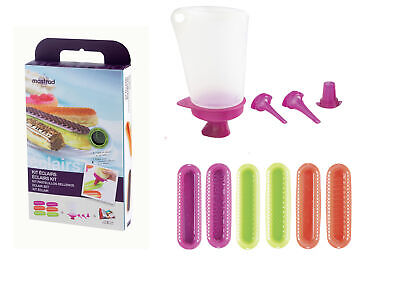 Mastrad Silicone Eclair Making Decorating Kit Gift Cake Mould Pastry Bag Tips
