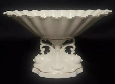 Large Lenox Porcelain Compote Footed Bowl Dolphin Fish Koy Base Made in USA