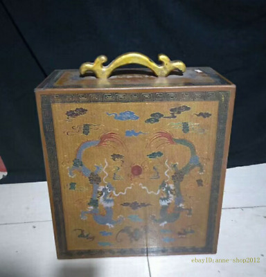 45CM Collect Chinese Old Lacquer ware wood Box Handmade Beast Dragon AZAO