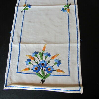 """Exquisite Antique Hand Embroidered Floral Table Runner 37"""" by 15"""""""