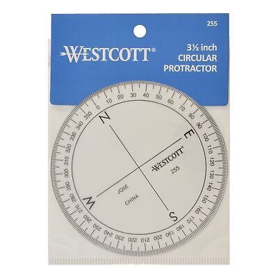 "Westcott 3 1/2"" 360 Degree Compass Protractor, Transparent"