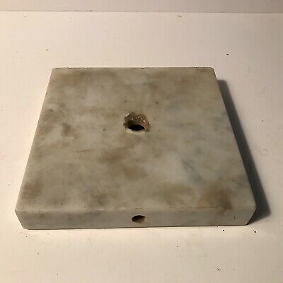 Antique 5 inch square white gray marble insert electric table lamp base