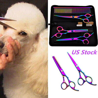 5Pcs/set Animal Pet Grooming Scissors Pro Curved Thinning Shear Dog Cat Hair Cut