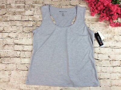 159e6a9a285413 Ideology Womens Tank Top 1x Grey Racerback Sleeveless Semi Fitted Plus Size  New