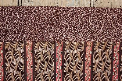 Fabric Antique French madder brown 1820 printed cotton texile small scale design