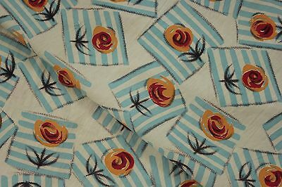 Vintage French Fabric Art Deco floral Geometric material blue orange & red
