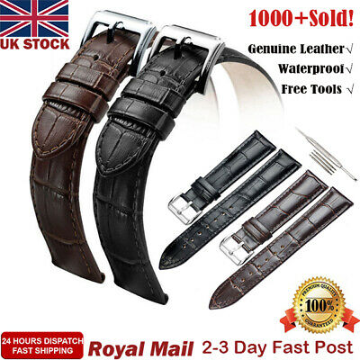Mens Genuine Leather Watch Strap Band Black Brown 16mm 18mm 19mm 20mm 22mm 24mm
