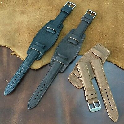 Size 18/20/22mm Vintage Bund Style Soft Cow Leather Pad Watch Strap Band #137A