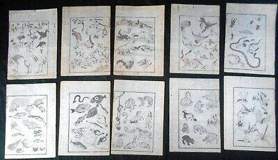 Lot of 10 Authentic 19th Century Hokusai Woodblock Prints: Larger Figures
