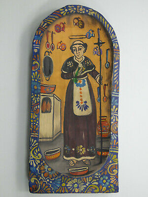 Hand painted wood dough bowl with Saint Pascual Scene, mexican folk art