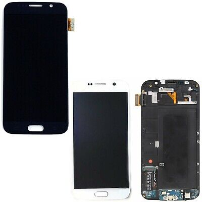 Display Lcd Touch Screen Con Frame Per Samsung Galaxy S6 G920F Nero Bianco