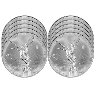 Lot of 10 - 2019 Silver Mexican Libertad Onza 1 oz Brilliant Uncirculated