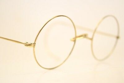 Vintage Eyeglass Frames Gold Round Windsor Lennon 40mm Antique Frames
