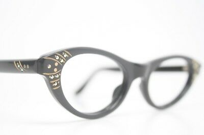 Black Rhinestone Vintage Cat Eye Glasses Unused 1960s New Old Stock  Frames