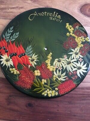 Hand Painted & Lacqured Stool Top / Wall Decoration Australia 2001