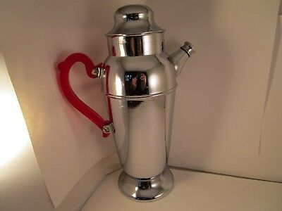 Vintage Unmarked Metal Red Handle Cocktail Martini Shaker Coffee Pot