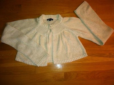 Gap Girls Winter White Gold Sparkly Cropped Sweater Shrug $36.95 14-16 Bnwt