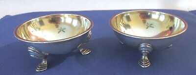 2 Antique Tiffany Young & Ellis Coin Silver & Gilt Salts Cellars 1852