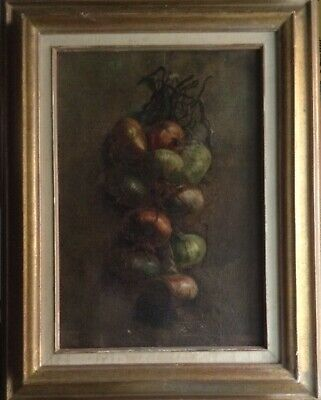 Antique Painting 19th Century Rare Still life Onion braid Oil on canvas