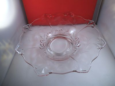 Vintage Clear Glass Large Centerpiece Bowl Etched Flowers Diamond Kite