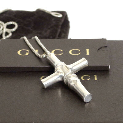 7688f67c8 Authentic Gucci Bamboo Cross Necklace Sterling Silver 925 Vintage Italy in  Box