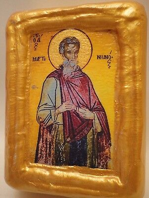 Saint Martinianus Christian Byzantine Greek Eastern Orthodox Wooden Icon Block