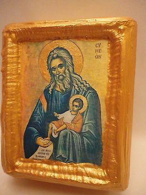 Saint Symeon Simeon Rare Byzantine Greek Orthodox Icon on Pine Wood Block