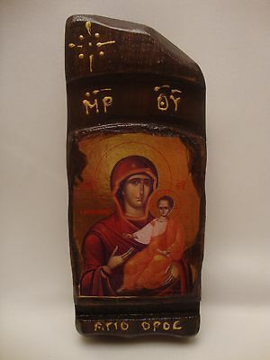 Virgin Mary Jesus Byzantine Greek Orthodox Gold Leaf Icon on Natural wood plaque