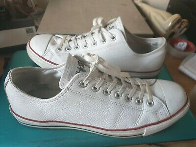 Mens White Converse All Stars Lo Top Leather Trainers Size Uk 11 Euro 45