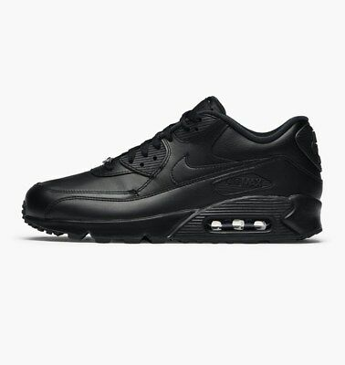 Nike Air Max 90 Leather Mens Triple All Black New Retro 302519-001 All Sizes