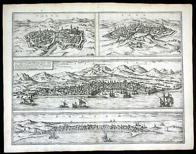 ca. 1575 Palermo Parma Siena Trapini Braun Hogenberg map Plan incisione